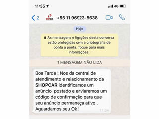 ShopCar Alerta: cuidado com mensagens indevidas